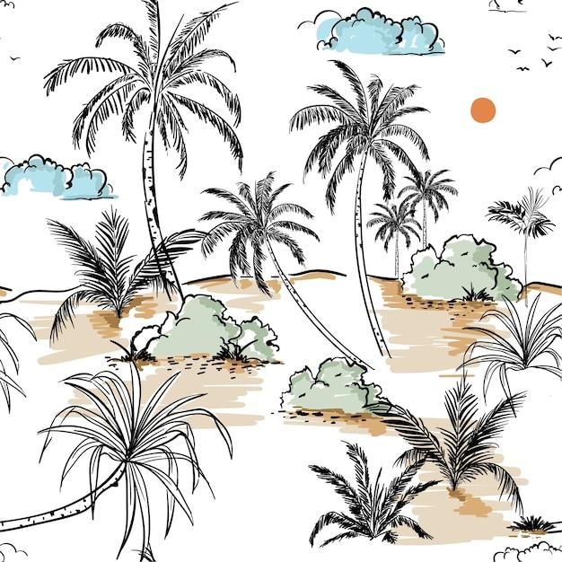 Insel- und palmenhandzeichnungszeichnungs-skizze in nahtlosem Premium Vektoren