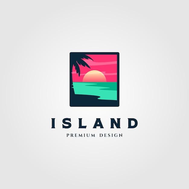 Insellandschaftslogoillustration Premium Vektoren