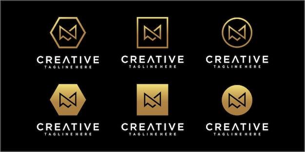 Inspiration für das design des minimalistischen anfangsbuchstaben m-logos Premium Vektoren