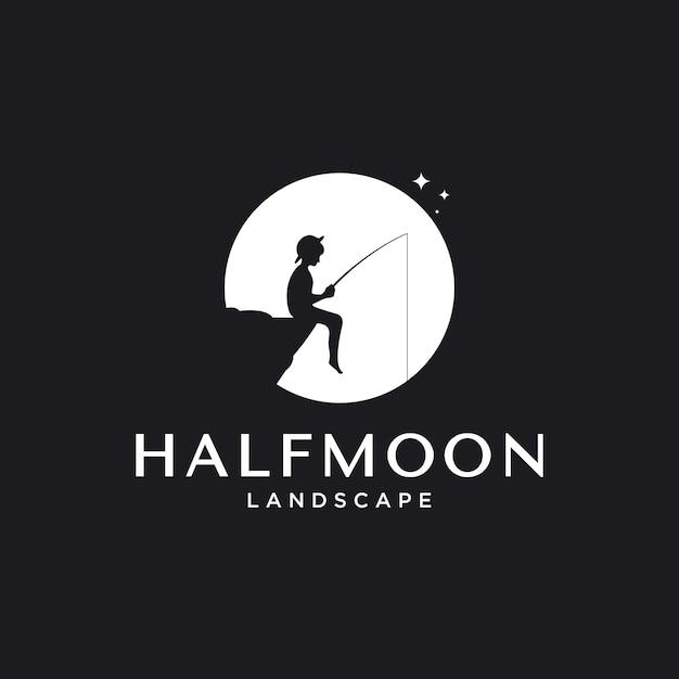 Inspiration für das logo-design im freien mit einem element zum angeln von mond und kleinen jungen, Premium Vektoren
