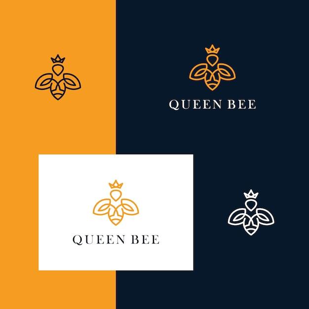 Inspirieren sie das bienen- und kronendesign-logo mit einem einfachen liniendesignstil Premium Vektoren
