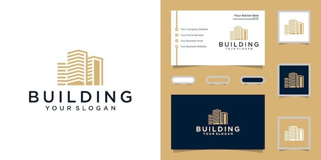 Inspirierend mit strichgrafik-logo und visitenkarte bauen Premium Vektoren