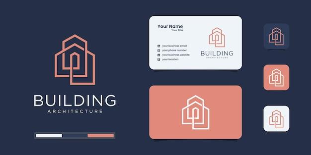 Inspirierend mit strichgrafik-logo und visitenkarte Premium Vektoren