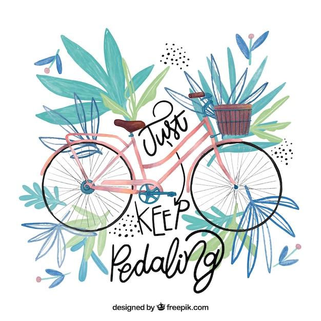 Inspirierend zitat mit aquarell fahrrad Kostenlosen Vektoren