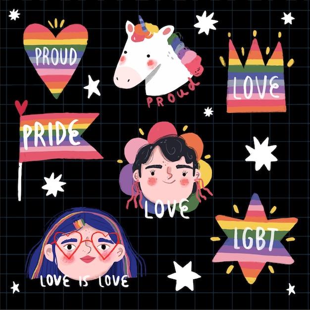 Inspirierende pride day labels Kostenlosen Vektoren
