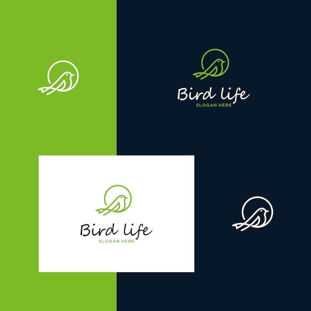 Inspirierende vogellogodesigns mit einfachen umrissstilen Premium Vektoren