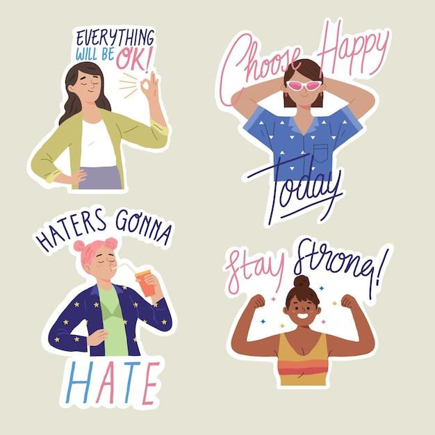 Inspirierende zitate frauen empowerment selbstakzeptanz und gleichstellung der geschlechter feministischer körper positiv Kostenlosen Vektoren