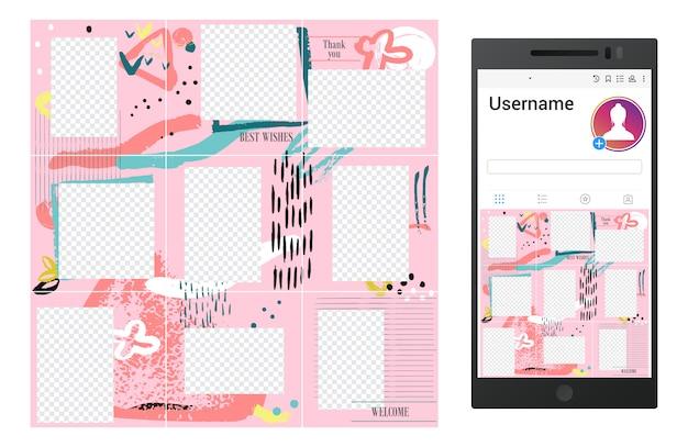 Inspiriert von der instagram grunge social media puzzle vorlage Premium Vektoren