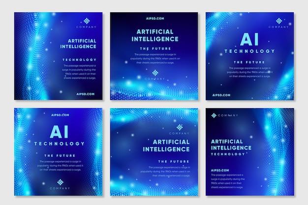 Instagram-beiträge für künstliche intelligenz Kostenlosen Vektoren