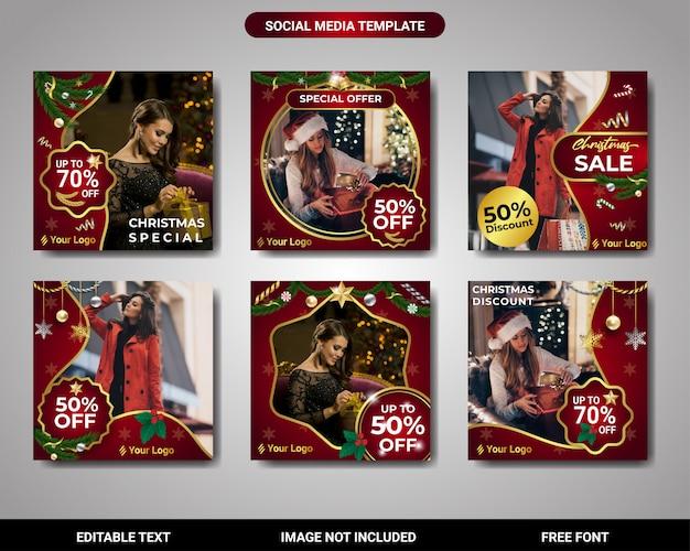 Instagram-beitrags-weihnachtsförderung und rabattverkaufsquadrat-fahnenschablone Premium Vektoren