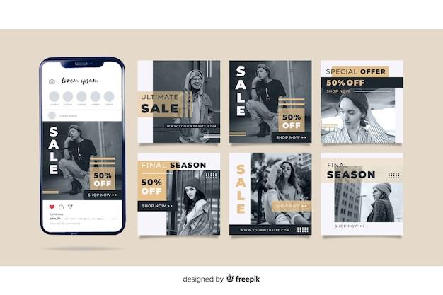 Instagram-beitragssammlungsschablone mit foto Kostenlosen Vektoren
