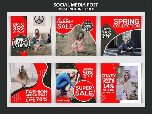 Instagram-beitragsschablone oder quadratische fahne, erstklassiges social media des kreativen rabattes der mode Premium Vektoren