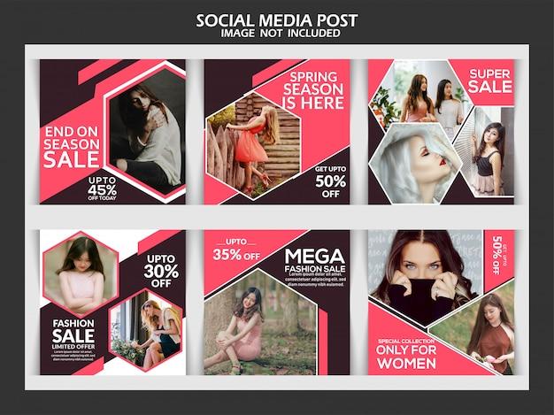 Instagram-beitragsschablone oder quadratische fahne, mode instagram beitragsfahne Premium Vektoren