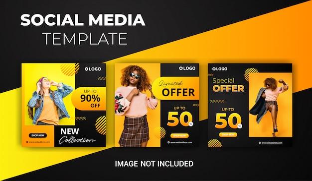 Instagram-beitragsschablonendesign oder quadratische fahne für die werbung Premium Vektoren