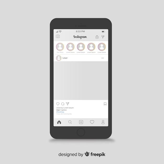 Instagram beitragsvorlage auf dem iphone Kostenlosen Vektoren