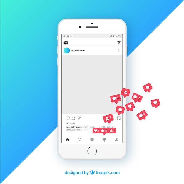 Instagram beitragsvorlage mit benachrichtigungen Kostenlosen Vektoren