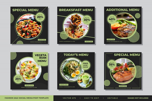 Instagram food & kulinarisches social media beitragsvorlage Premium Vektoren