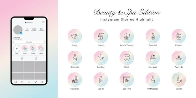Instagram-geschichten heben das cover für beauty und spa hervor Premium Vektoren