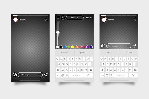 Instagram geschichten interface template-thema Kostenlosen Vektoren