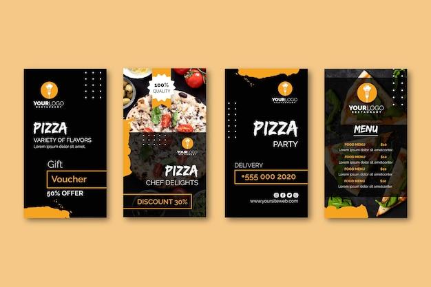 Instagram geschichten sammlung für pizza restaurant Premium Vektoren