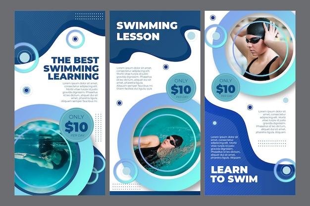 Instagram geschichten sammlung für schwimmunterricht Kostenlosen Vektoren