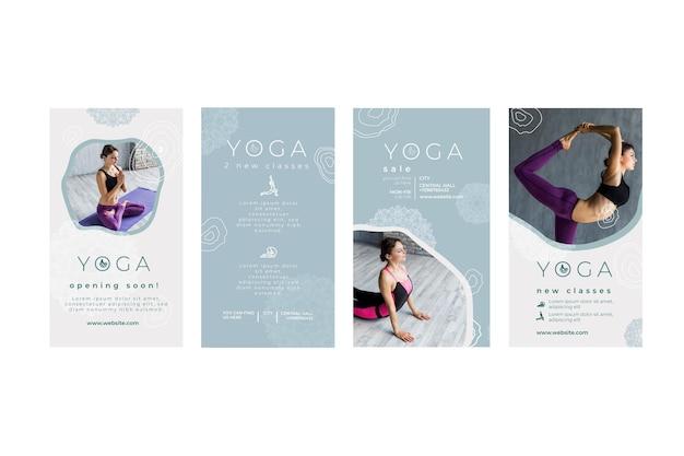 Instagram geschichten sammlung zum üben von yoga Premium Vektoren