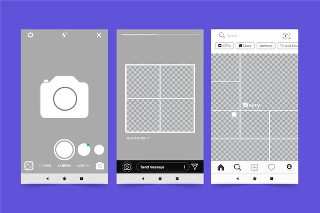 Instagram-geschichten-schnittstellenthema für vorlage Kostenlosen Vektoren