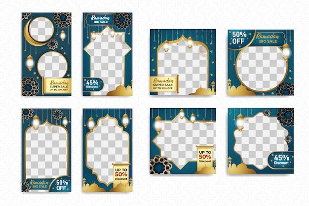 Instagram-geschichten und quadratisches post-set mit islamischem ramadan-mubarak-design Premium Vektoren