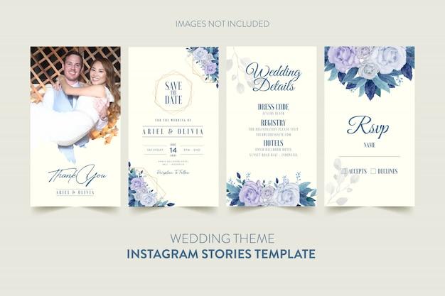 Instagram geschichten vorlage für hochzeitseinladungskarte mit aquarell blume und blätter Premium Vektoren