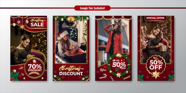 Instagram-geschichten weihnachtsförderung und rabattverkaufsschablone Premium Vektoren