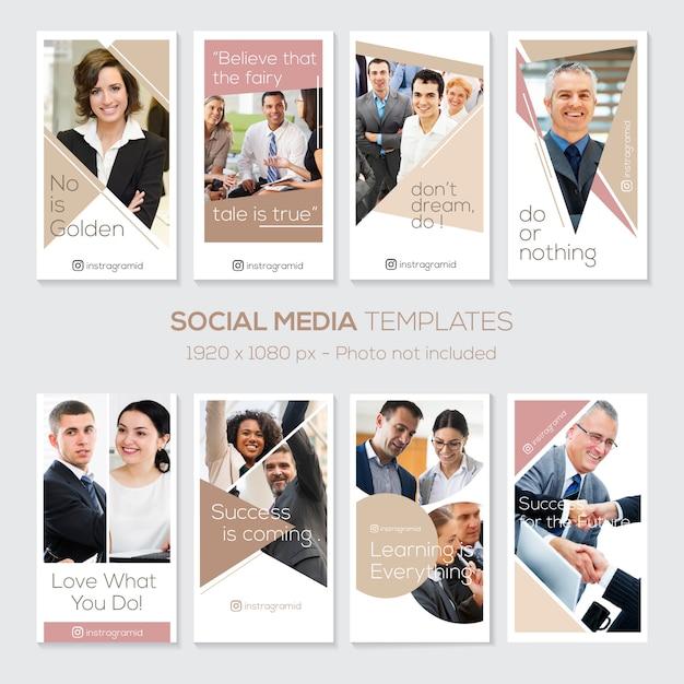 Instagram-geschichtenvorlage mit zitaten. großunternehmen. sauberes design Premium Vektoren