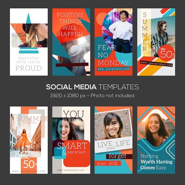 Instagram-geschichtenvorlage. zusammenfassung mit zitaten und editierbaren dateien Premium Vektoren
