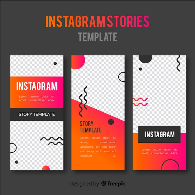 Instagram-geschichtenvorlagen mit leerem rahmen Kostenlosen Vektoren