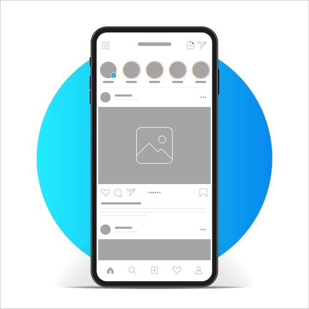 Instagram interface app. social media app auf dem smartphone-bildschirm. Premium Vektoren