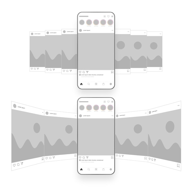 Instagram karussell-oberfläche Kostenlosen Vektoren