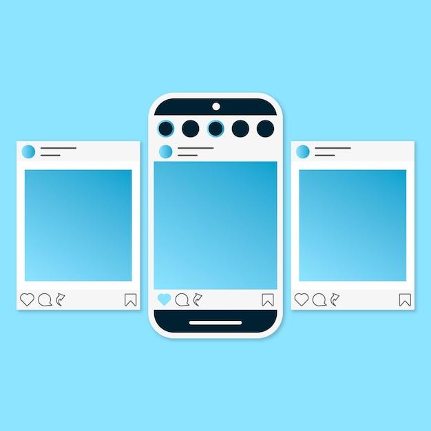 Instagram karussell schnittstelle eingestellt Kostenlosen Vektoren