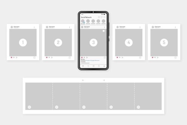 Instagram karussell schnittstelle mit gerät Kostenlosen Vektoren
