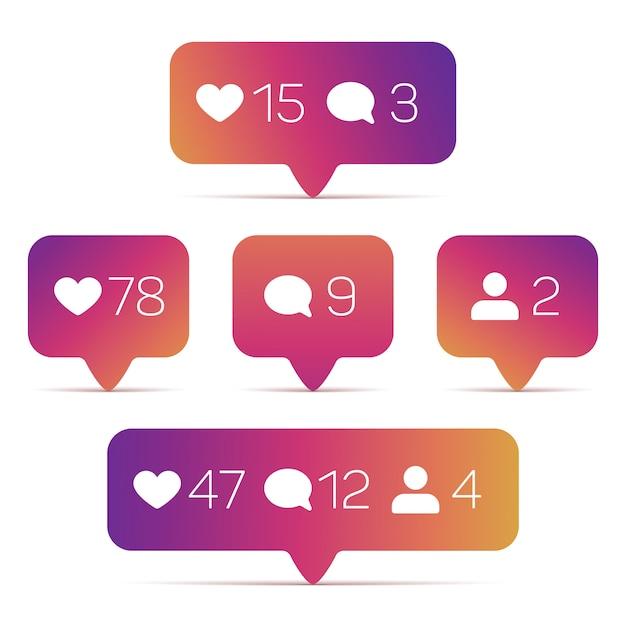 Instagram like, follower, kommentarsymbole Premium Vektoren