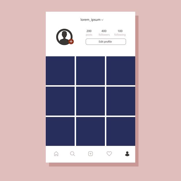 Instagram-oberfläche für mobile app. flacher design-fotorahmen Premium Vektoren