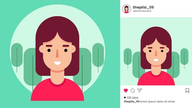 Instagram post vorlage mit flachem weiblichen avatar Premium Vektoren