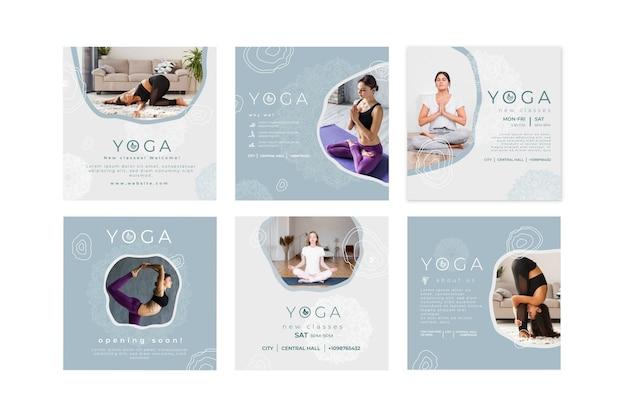 Instagram-postsammlung zum üben von yoga Premium Vektoren