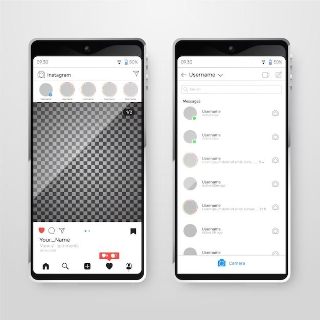 Instagram profil interface vorlage Kostenlosen Vektoren