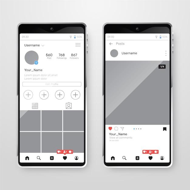 Instagram profiloberfläche mit handy Kostenlosen Vektoren