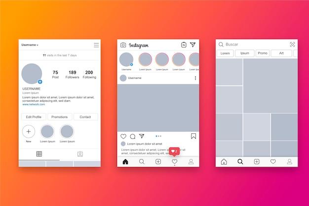 Instagram-profilschnittstellen-vorlagenthema Kostenlosen Vektoren