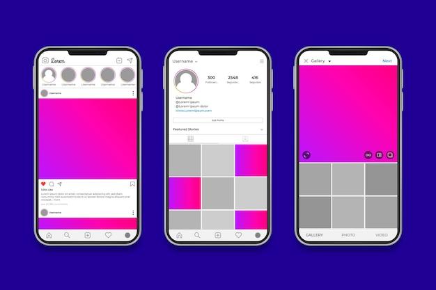 Instagram-profilschnittstellenschablone mit telefon Kostenlosen Vektoren