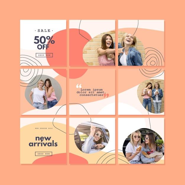 Instagram puzzle feed sammlung Kostenlosen Vektoren