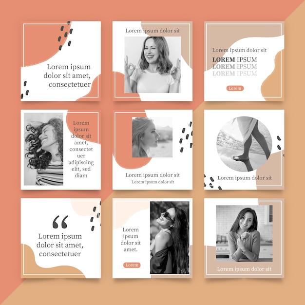 Instagram puzzle feed vorlage Premium Vektoren
