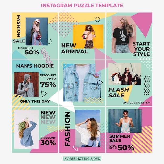 Instagram-puzzlespiel-mode-verkaufs-social media-beitragsdesignschablone Premium Vektoren