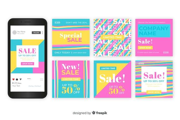 Instagram sales post collection-vorlage Kostenlosen Vektoren