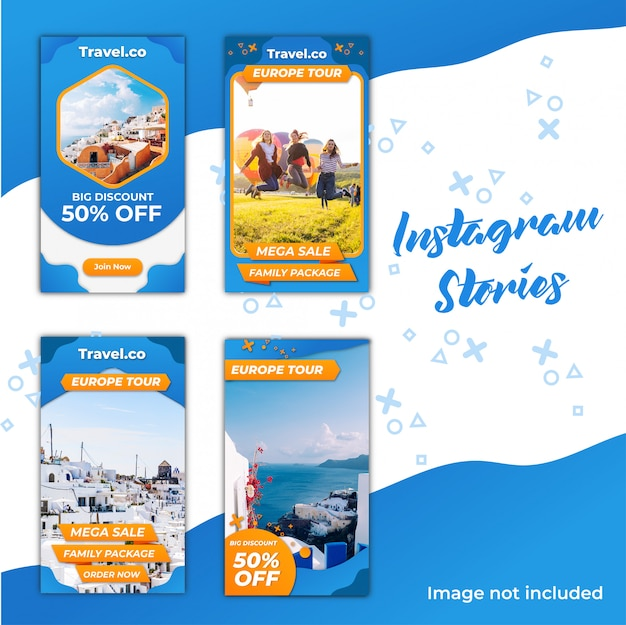 Instagram stories reiserabatt Premium Vektoren
